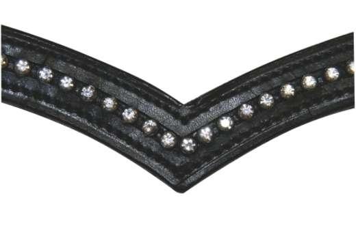 Stirnband Strass-Steine Vollblut V-Form für Trense